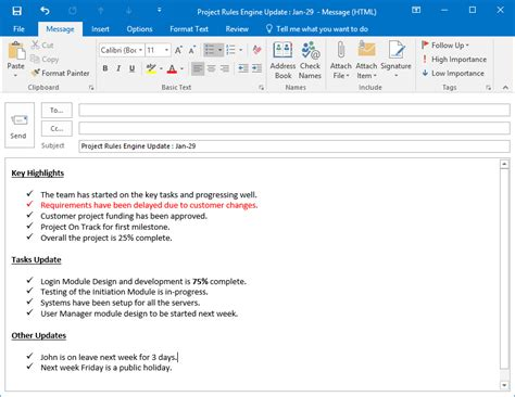 Update Email Template project status update email sle free templates and