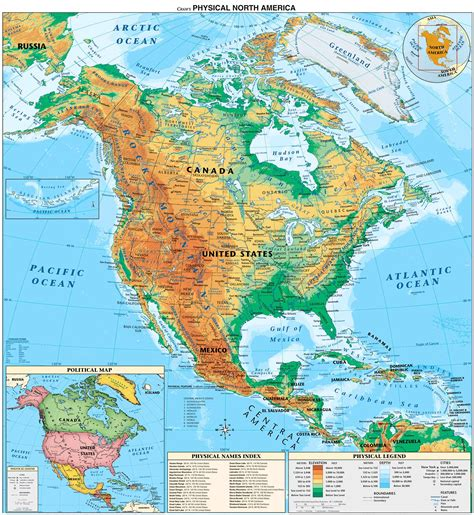 physical map of america america physical map size