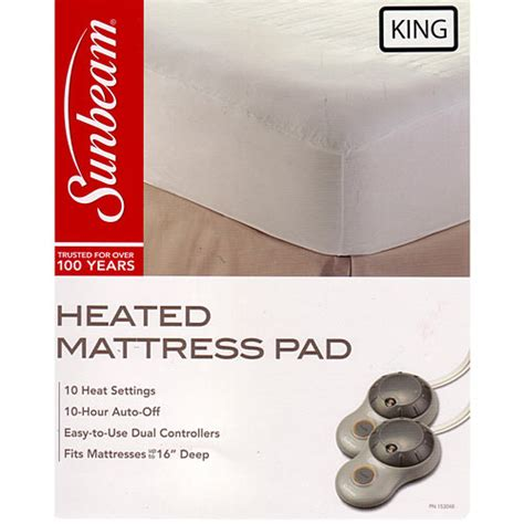 Size Heated Mattress Pad by Sunbeam Non Woven Thermofine Heated Electric Mattress Pad