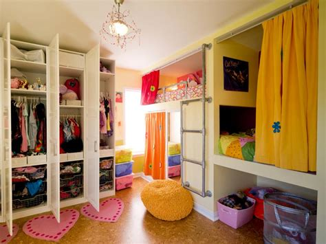 shared kids bedroom ideas creative shared bedroom for three girls hgtv
