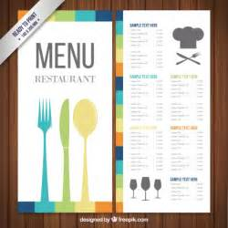 templates for menus free colorful menu template vector free