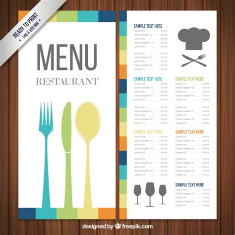 Colorful Menu Template Vector Free Download Restaurant Menu Template