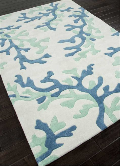 Fusion Coral Fixation Area Rug In Sea Green Blue And White Beachy Area Rugs