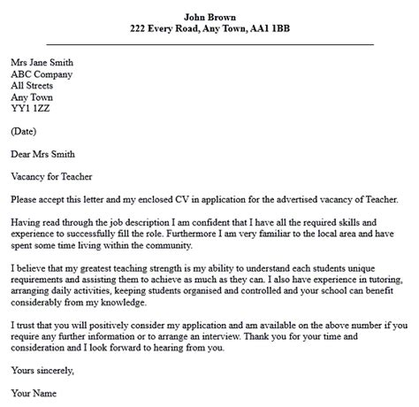 cover letter for teaching position letter of application application for teaching cover letter