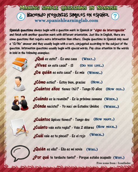preguntas frecuentes meaning in english asking questions in spanish using question words and