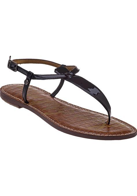 Sandal Wedges Wg12 Black 1 sam edelman gigi flat sandal black patent leather in black black patent lyst