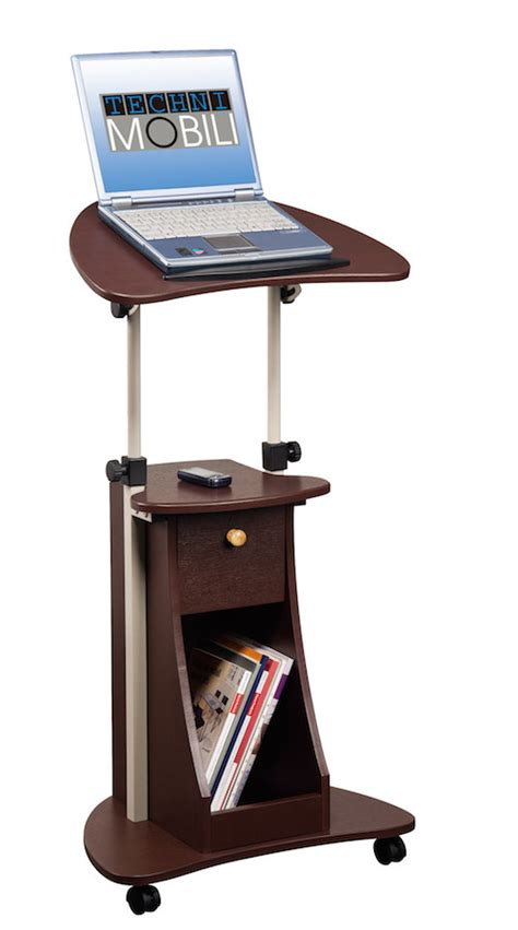 rolling stand up desk stand up desk rolling laptop cart with storage