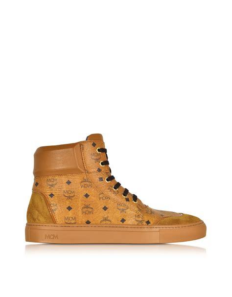 mcm sneakers mens lyst mcm cognac classic high top sneaker in brown
