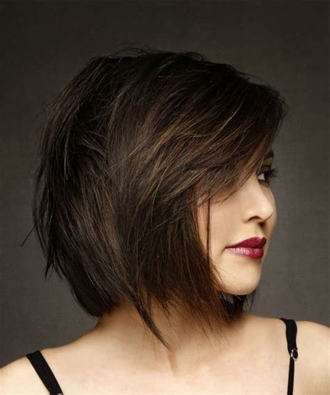 brunette hairstyles wiyh swept away bangs short straight formal bob hairstyle with side swept bangs