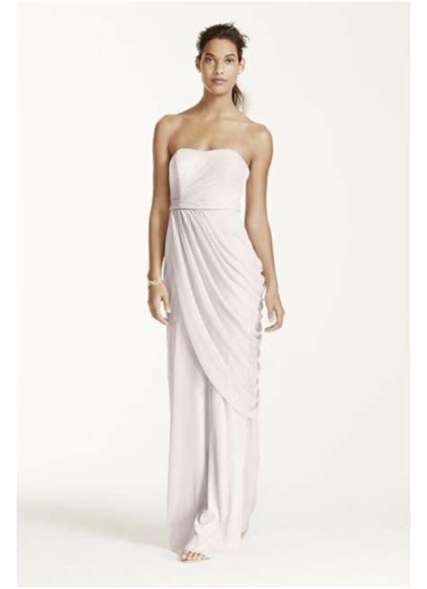 Davids Bridal Gift Card - long strapless mesh dress with side draping david s bridal