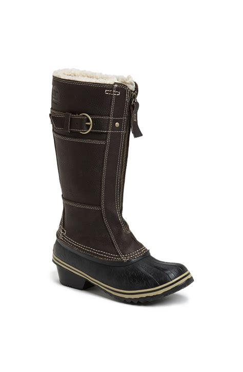 sorel winter fancy waterproof boot in gray grizzly