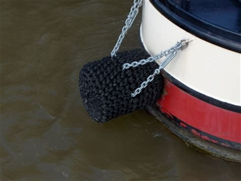 canal boat rope fenders long button stern fender for narrowboat black rope