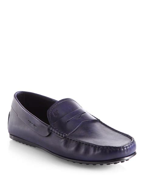 loafers in leather tod s city gommini leather loafers in blue for lyst