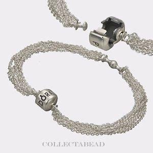 authentic pandora silver multi strand one clip station
