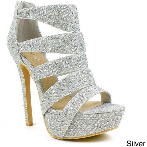 silver prom shoes high heels celeste s sheri 01 rhinestone cut out dress pumps