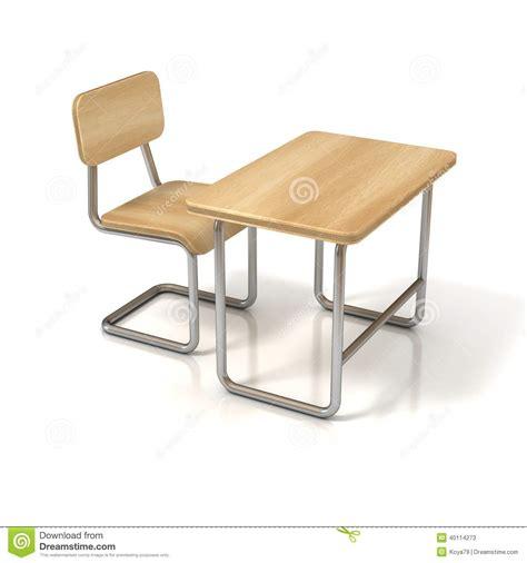 white school desk school desk and chair on white stock illustration image