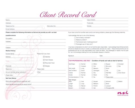 client record card template hairdressing client record cards paperwork