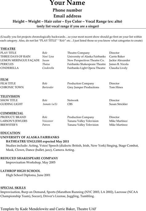 exle acting resume acting resume template free premium templates
