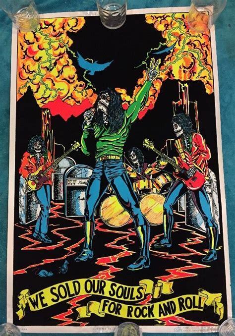 where the light is poster vtg 1981 black sabbath we sold our souls black light