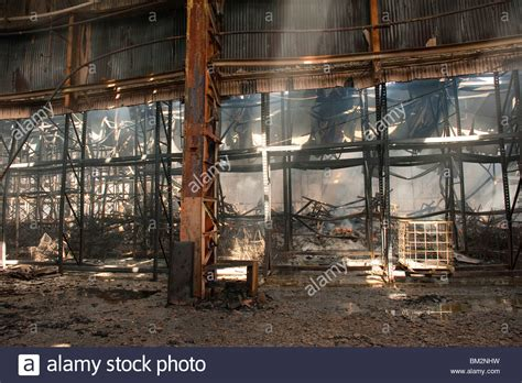 twisted factory severe factory warehouse fire steel girders twisted and