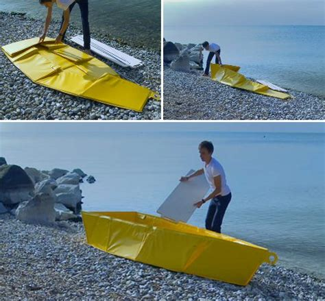 folding rowboat boat to go portable flat pack vessel folds up like a tent