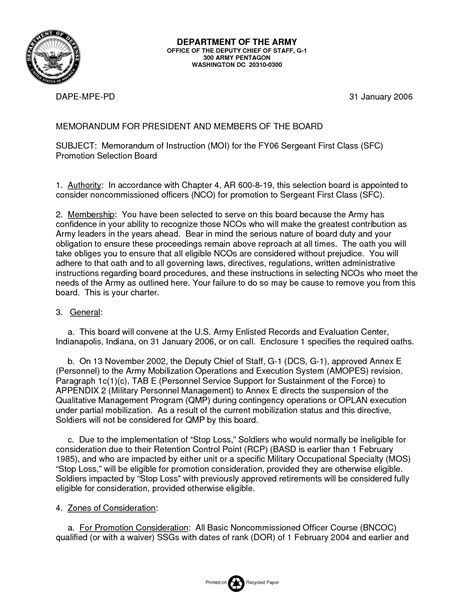 Promotion Board Letter To The President 12 Best Images Of Memorandum For Promotion Board Promotion Board Memorandum Exle Army