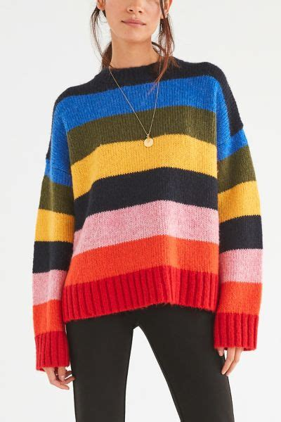 Rainbow Sweater uo kari rainbow striped oversized sweater outfitters