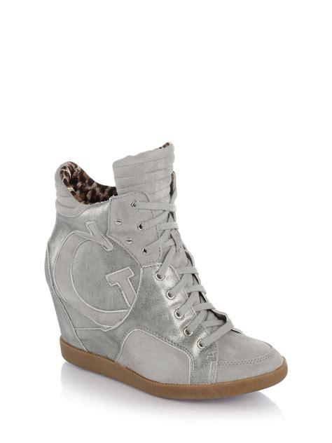 grey sneaker wedges guess farina wedge sneaker in gray multi grey lyst