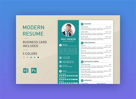 Modern Tri Color Business Card Template For Professional by 18 Modern Resume Templates With Clean Designs