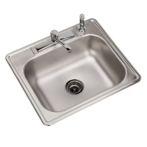 All In One Kitchen Sinks Elkay All In One Top Mount Stainless Steel 25 In 4 Single Bowl Kitchen Sink Hd598536lfr