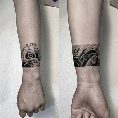 wrist sleeve tattoo japanese wave cuff by oozy tattoo tattoos