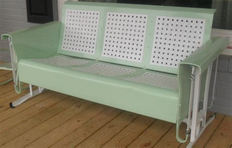 vintage patio glider restored basketweave metal three seat vintage porch glider