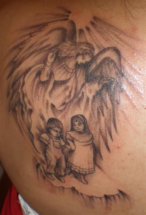 cherub tattoos awesome grey ink guardian on back