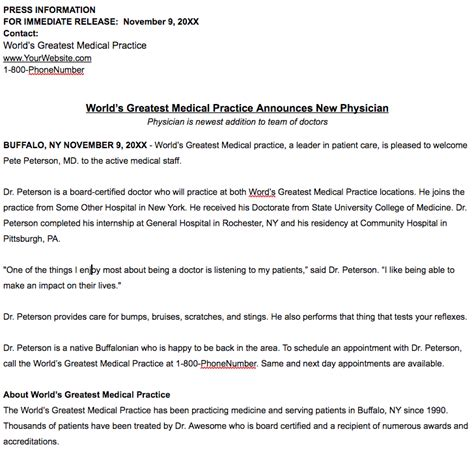 ceo announcement press release template what is news worthy for a healthcare practice press release