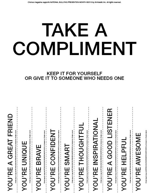 take a compliment 50 posters to pin and it s national bullying prevention month and choices