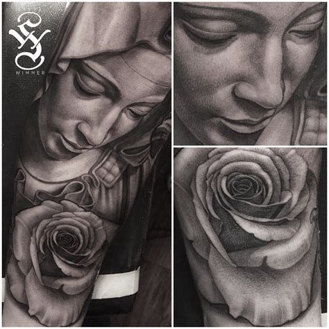 virgin mary rose tattoo black and gray portrait tattoo by