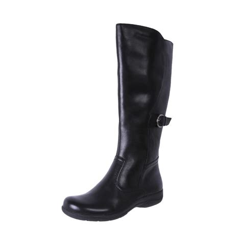 planet shoes leather comfort knee high boots steph black