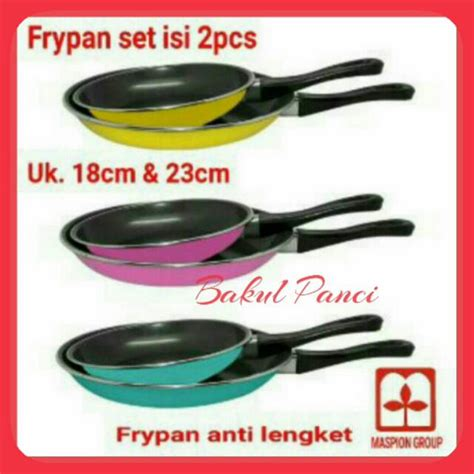Panci Teflon Maspion wajan teflon maspion fancy set 2 pcs frypan set 23cm 18