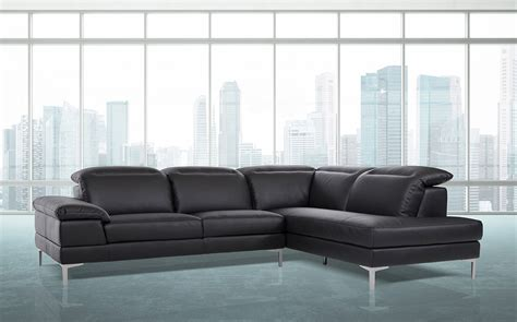 black leather sofa sectional carnation modern black leather sectional sofa