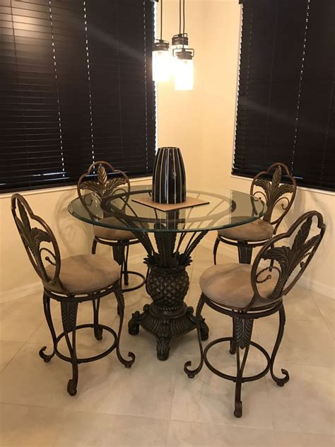 dining room set high top  chairs swivel stools