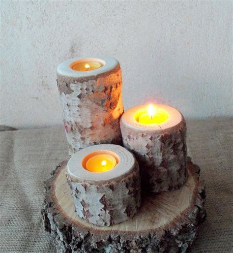 Table Candle Holders Centerpieces 3 Wood Candle Holders Table Centerpiece Wood Log