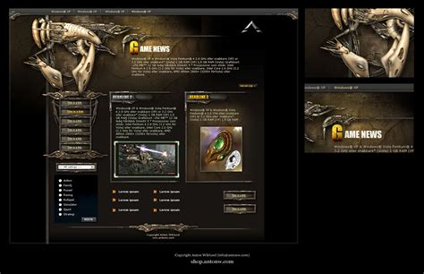 game website layout browser game design