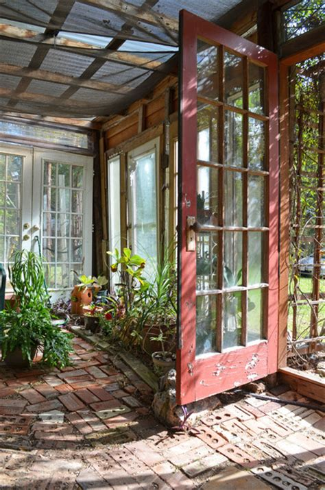Greenhouse From Salvaged Windows Decor Recycled Greenhouse In Piny Woods Of Eclectic Shed Other By Greenman