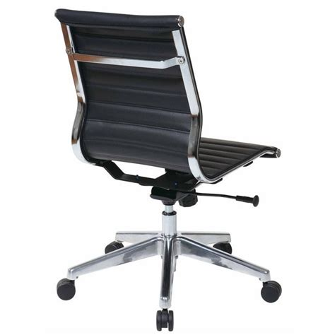 armless black leather office chair office eco leather mid back armless office chair in
