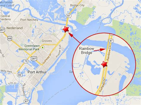 map of port arthur texas semi truck jackknives spills fuel on rainbow bridge in port arthur texas truck lawyer