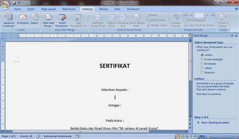 membuat sertifikat mail merge niken septiyanti cara membuat sertifikat melalui