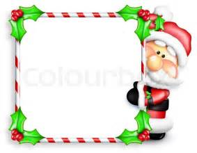 whimsical cartoon santa peeking candy cane sign stock photo colourbox