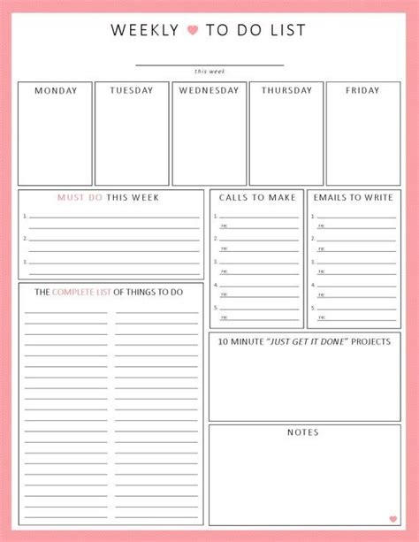 weekly to do list template wekelijkse to do list 1 vel afdrukbare organisatie door