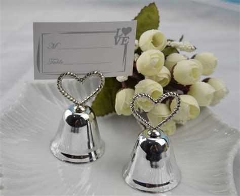 wedding placecard holders cheap wedding place cards free shipping wholesale 200pcs silver heart bell place