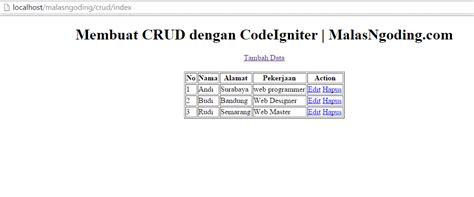 tutorial ci crud membuat crud dengan codeigniter input data ke database